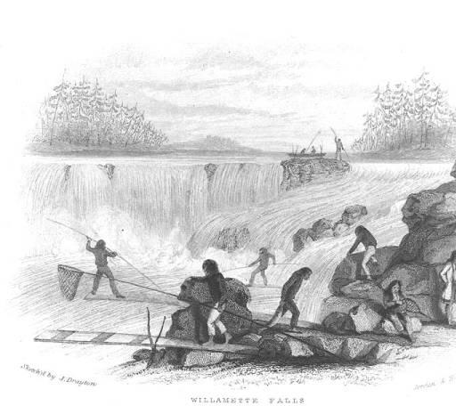 Fishing at Willamette Falls