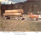 Loaded log truck on a road, probably on the Olympic Peninsula