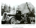 Frank Felco with a log truck, probably in Jefferson County