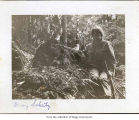 Mary Schutz in a wood, probably on the Olympic Peninsula