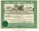 James Clark's certificate for shares in Forks Co-Operative Creamery, Inc. in Forks