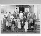 Students and teachers, including Wynona and Elizabeth Whitcomb, in front a school, ca 1922.