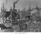 Merrill and Ring Logging Company logging crew with donkey engines, probably in Clallam County