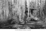 William Bishop logging camp showing loggers with donkey engine in Chimacum