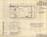 Capitol Theater (Olympia, Wash.), basement plan, typical store front detail and west elevation