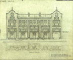 Commercial building, front elevation and plan