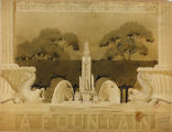 Henry Olschewsky student drawing of a rendering of a stone fountain