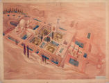James J. Chiarelli student drawing of an archaeological institute in a desert setting