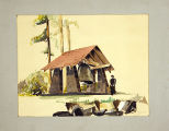 Edwin Bryant student drawing of a bell shelter