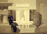 Erling Bugge student drawing of niche with vase framed by Roman Doric columns