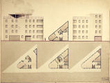 Artfield Johansen student drawing of an emergency hospital on a triangular site