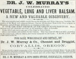Dr. J. W. Murray's Vegetable, Lung and Liver Balsam (1867)