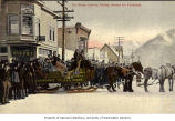 Passengers and drivers bundled up in winter clothing for horse drawn sled trip on Orr Stage,...