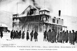 Crowd watching the Governor's Residence on fire, Dawson, Yukon Territory, December 25, 1906