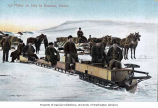 Men with motorized sled leaving Bennett, British Columbia for Dawson, March 16, 1899