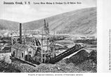 Lewes River Mining & Dredger Co. mining operation showing men standing near dredge, Bonanza...