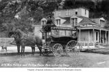 Mrs. Harriet Pullen and horse-drawn carriage in front of the Pullen House Hotel, Skagway, n.d.