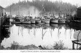 Fishing boats docked in harbor, location unknown, ca. 1920