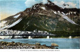 Miles Glacier and bridge and Mount O'Neal from the Copper River Road, ca. 1913