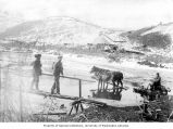 Man on sled piled with supplies being pulled by team of horses, and two men walking over...