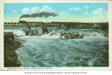 American Falls with view of Union Pacific Railroad, American Falls, Idaho, ca. 1915