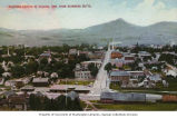 Bird's-eye view of Eugene showing the Southern Pacific Railroad depot in the foreground, Oregon,...