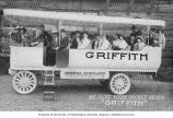 Travelers aboard Griffith's sightseeing bus in Portland, Oregon, ca. 1912