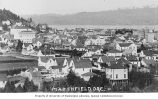 Birds-eye view of buildings in Marshfield, Coos Bay, Oregon, ca. 1912