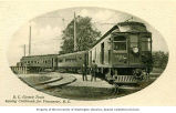 British Columbia Electric Railway train leaving Chilliwack for Vancouver, British Columbia, ca....