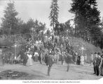 Crowd gathered on staircase in Centennial Park at the Lewis and Clark Exposition, Portland,...