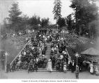 Crowd seated on staircase in Centennial Park, Lewis and Clark Exposition, Portland, Oregon, 1905