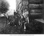 Pageant group in Native American and pioneer clothing outside of the Forestry Building at the...