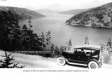 Automobile and view from Malahat Drive, West side of Saanich Inlet, South Vancouver Island,...