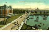 Empress Hotel and Parliament Buildings by the harbor in Victoria, British Columbia, ca. 1908