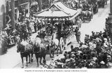 Horse drawn Japanese float in Portland Rose Festival parade, Portland, Oregon, 1908