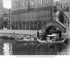 "Gondola boats filled with women from Kiralfy's Carnival of Venice, ""The Trail,"" Lewis..."