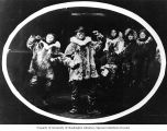 Two Eskimo boys dancing with three boys watching, Cape Prince of Wales, Alaska, ca. 1906