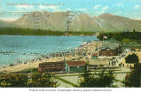 Bathers at Kitsilano Beach showing a Canadian Pacific Railway car in foreground, Vancouver,...
