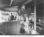 Jakob Sjolseth and Peter Kolloen at the bar inside the Jo Jo Hotel, Dawson, Yukon Territory, ca....