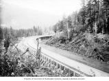 Porcupine Gold Mining Company completed stretch of flume, as seen from the hillside, Porcupine,...