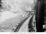 Snow covered spillway, Porcupine Gold Mining Company flume next to the Porcupine River, Porcupine,...