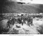 Group of miners at claim no. 22 above Bonanza Creek, near Dawson, Yukon Territory, ca. 1900