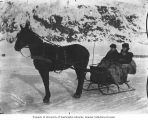 Man and woman in a horse drawn sled in Dawson, Yukon Territory, ca. 1900