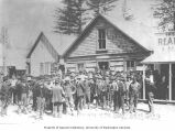 Group of men outside City Hall, vigilantes preparing to go after the Soapy Smith Gang, Skagway,...