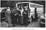 Harriet S. Pullen and others in front of Pullen House Hotel tour bus, Skagway, n.d.