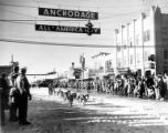 World Championship Sled Dog Race on Fourth Avenue looking east, Fur Rendezvous festival,...