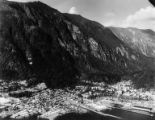 Aerial view of Juneau with Mt. Juneau in background, ca. 1957