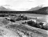 Aerial view of farm in Matanuska Valley, Alaska, ca. 1950s-1960s