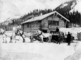 Horse and carriage with Ed. S. Orr Stage Line cabin in background, Alaska, ca. 1907
