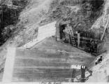 Construction of bridge pier 4 at north end of Hurricane Gulch bridge on the Alaska Railroad,...